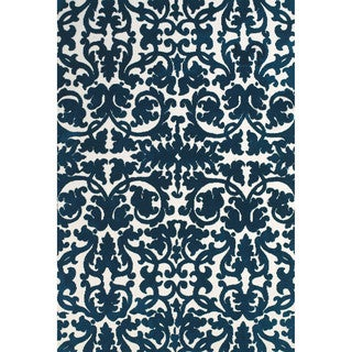 "Grand Bazaar Power Loomed Polyester Karlin Rug in Midnight Blue 2'-6"" x 8'"