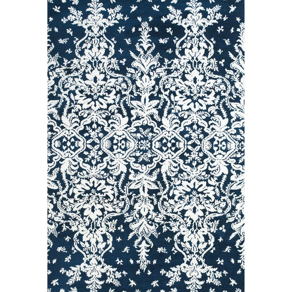 """Grand Bazaar Power Loomed Polyester Pia Rug in Midnight Blue 2'-6"""" x 8' - 2'6"""" x 8'"""