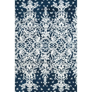 "Grand Bazaar Power Loomed Polyester Pia Rug in Midnight Blue 2'-6"" x 8'"