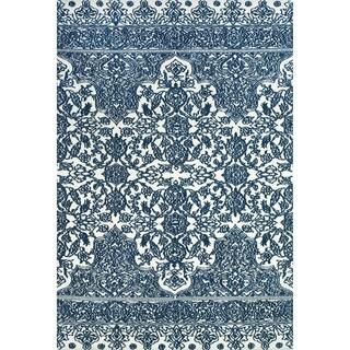 "Grand Bazaar Power Loomed Polyester Karlin Rug in Indigo / White 2'-6"" x 8'"