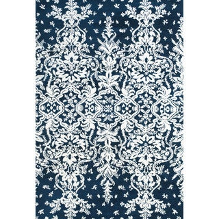 """Grand Bazaar Power Loomed Polyester Pia Rug in Midnight Blue 9'-6"""" x 13'-6"""""""