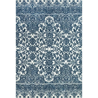 "Grand Bazaar Power Loomed Polyester Karlin Rug in Indigo / White 9'-6"" x 13'-6"""