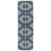 """Hand-tufted de Leon Boho Navy Rug (2'6 x 8') - 2'6"""" x 8'"""