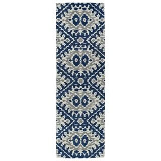Hand-tufted de Leon Boho Navy Rug (2'6 x 8')