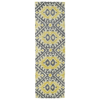 Hand-tufted de Leon Boho Yellow Rug (2'6 x 8')