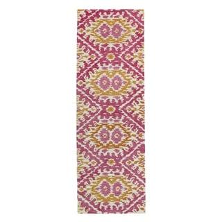 Hand-tufted de Leon Boho Pink Rug (2'6 x 8')