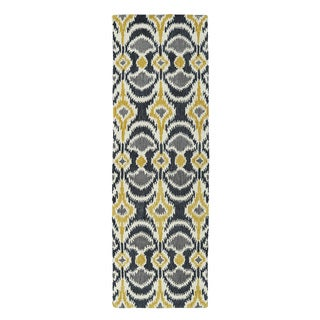 Hand-tufted de Leon Ikat Yellow Rug (2'6 x 8')