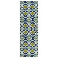 Hand-tufted de Leon Ikat Navy Wool Rug (2'6 x 8')