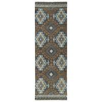 Hand-tufted de Leon Tibal Grey Rug (2'6 x 8')