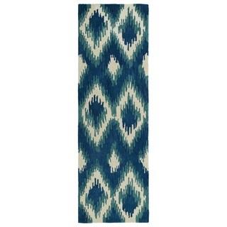 Hand-tufted de Leon Ikat Navy Rug (2'6 x 8')