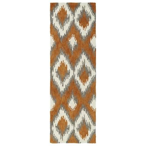 "Hand-Tufted de Leon Ikat Paprika Rug (2'6 x 8') - 2'6"" x 8'"