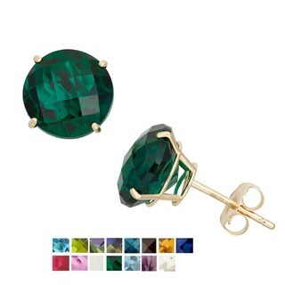Gioelli 10k Yellow Gold 8mm Round Birthstone Stud Earrings (More options available)