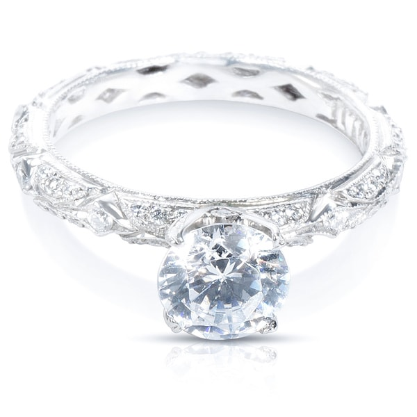 Tacori Platinum Cubic Zirconia and 1/3 ctw Diamond Engagement Ring