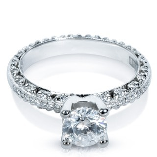 Tacori Platinum 1/4 ctw Diamond Round-cut CZ Center Semi-mount Engagement Ring (G-H, VS1-VS2)