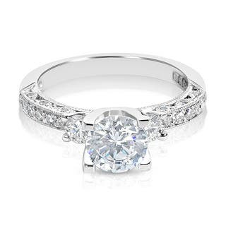 Tacori Platinum 3-stone Round CZ Center and 1/2 ctw Diamond Engagement Ring Setting|https://ak1.ostkcdn.com/images/products/9650902/P16833936.jpg?impolicy=medium