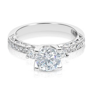 Tacori Platinum 3-stone Round CZ Center and 1/2 ctw Diamond Engagement Ring Setting