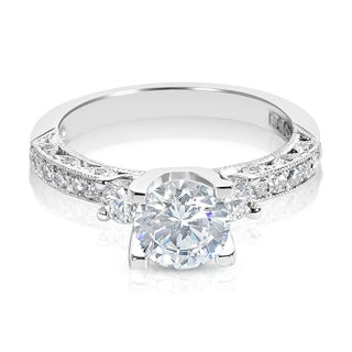 Tacori Platinum 3-stone Round CZ Center and 1/2 ctw Diamond Engagement Ring Setting (More options available)