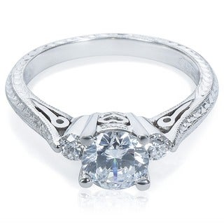Tacori Platinum Round-cut CZ and 1/6 ctw Diamond Engagement Ring (G-H, VS1-VS2)