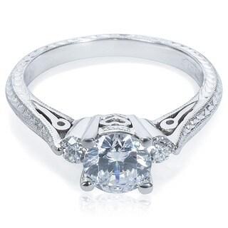 Tacori Platinum Round-cut CZ and 1/6 ctw Diamond Engagement Ring