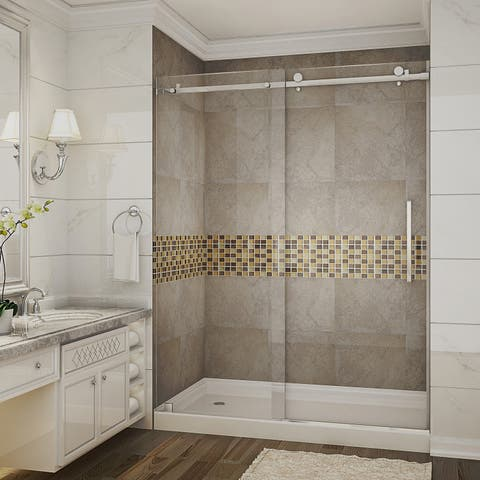 Aston Moselle 60-in x 77.5-in Completely Frameless Alcove Sliding Shower Door in Stainless Steel w. Base