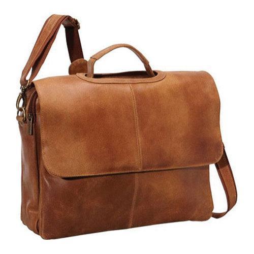 Ledonne Leather DS-101 Tan Laptop Messenger Bag (One Size)