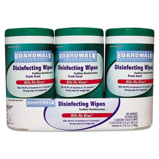 Boardwalk Disinfecting Wipes, 8 x 7, Fresh Scent, 75/Canister, 3 Canisters/Pack