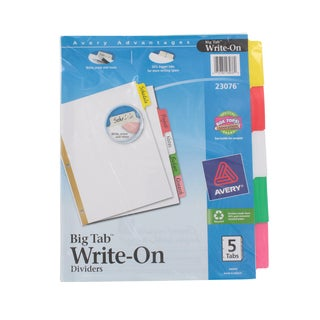 Avery Write-On Index Dividers with Erasable Laminated Multicolor Tabs