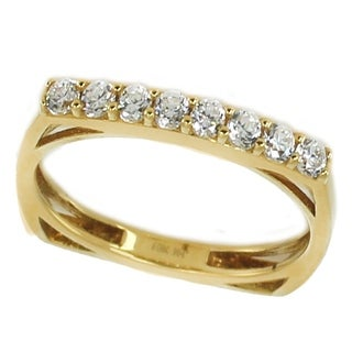 Michael Valitutti 10k Yellow Gold Round Cubic Zirconia Band Ring