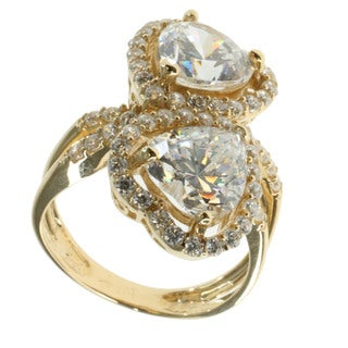 Michael Valitutti 14k Yellow Gold Cubic Zirconia 'Double Heart' Ring (Size 6)