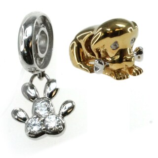 Michael Valitutti Sterling Silver cubic Zirconia Puppy Charm Set
