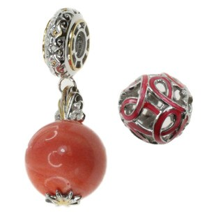 Michael Valitutti Sterling Silver Salmon Coral and Pink Enamel Ribbon Charm Set