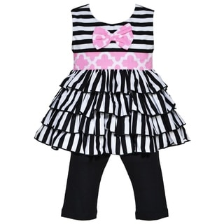 AnnLoren Boutique Girls' Black and White Striped Rumba Tunic with Capris