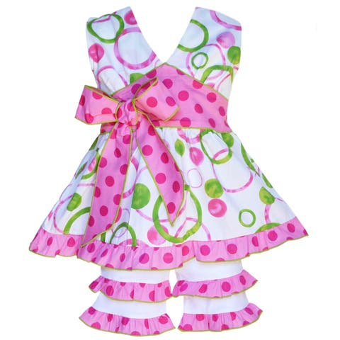 AnnLoren Boutique Girls' Pink & Green Circle Halter Top with Capri