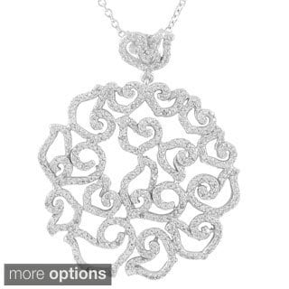 Luxiro Sterling Silver Cubic Zirconia Lacy Design Filigree Large Pendent Necklace