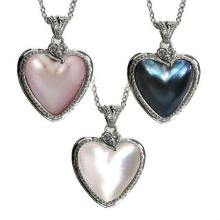 Michael Valitutti Sterling Silver Mabe Pearl Heart Necklace (13-14 mm)