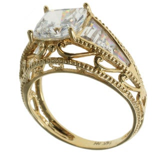 Michael Valitutti 14k Yellow Gold Cubic Zirconia Ring
