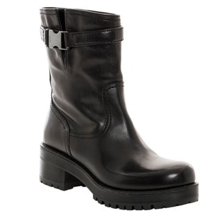 Prada Women's Black Leather Bucklestrap Boots