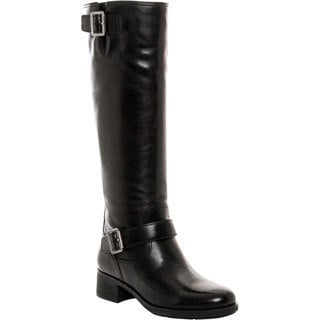 Prada Buckle Detail Knee-High Leather Boots
