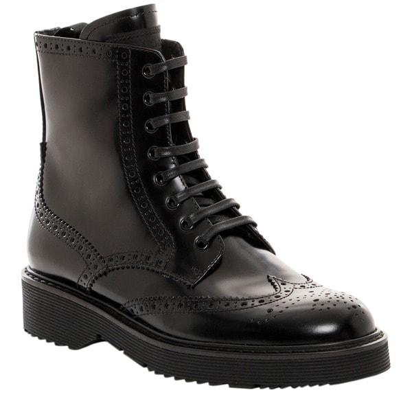 Prada Spazzolato Fume Lace-Up Black Boots