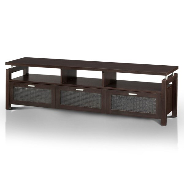 Furniture Of America Bauston Espresso Wood Entertainment Console