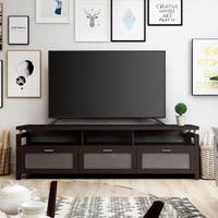 Furniture of America Bauston Espresso Wood Entertainment Console