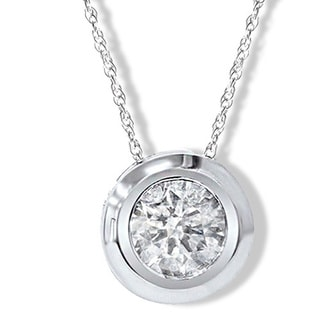 14k White Gold Round 1/4ct to1ct TDW Diamond Bezel Set Rope-chain Pendant (I-J, I2-I3)