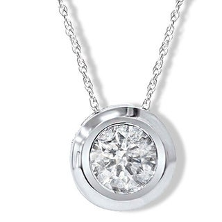 14k White Gold Round 1/4ct to1ct TDW Diamond Bezel Set Rope-chain Pendant