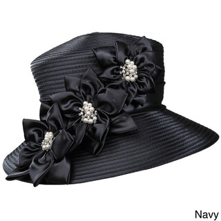Giovanna Signature Women's 3-flower Trimmed Ribbon Hat