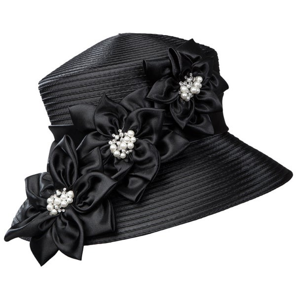 Giovanna Signature Women's 3-flower Trimmed Ribbon Hat