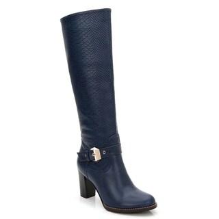 Ann Creek Women's Croc Accent Buckle Strap Navy Boots