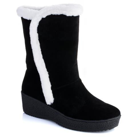Ann Creek Women's 'Salina' Fur Trim Wedge Boots
