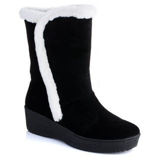 Women's 'Salina' Fur Trim Wedge Boots