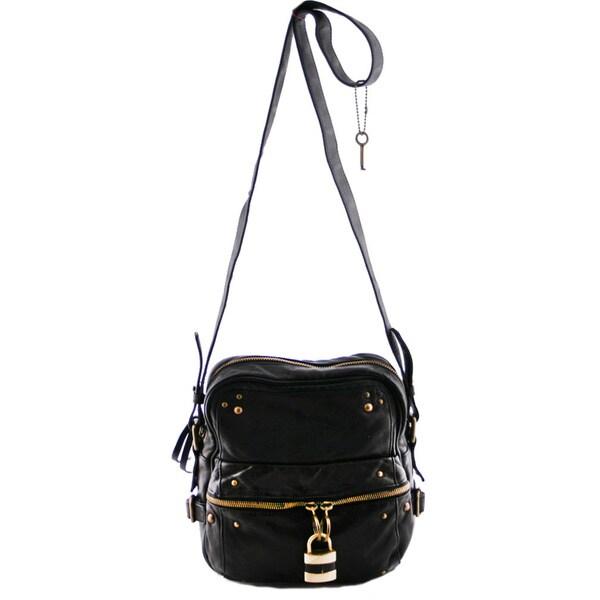 24/7 Comfort Apparel Faux Leather Crossbody Bag