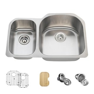 MR Direct 3121 Kitchen Ensemble Stainless Steel Offset Double Bowl Sink